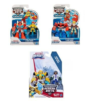Playskool Heroes 3x Transformers Rescue bots Optimus Prime Bumblebee Heatwave