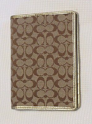 NEW COACH Signature Passport Card ID Case Holder Khaki Jacquard Gold leather