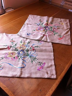 Pair of vintage hand embroidered cushion covers, floral