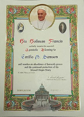 Mod. 8  Personalized Pope Blessing Certificate W/ Signature & Papal Seal Vatican