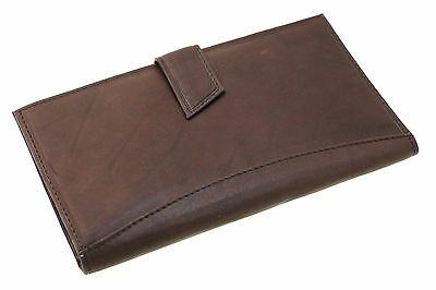 Men Womens Large Card Holder Checkbook Wallet Button Snap Closed Genuine Leather