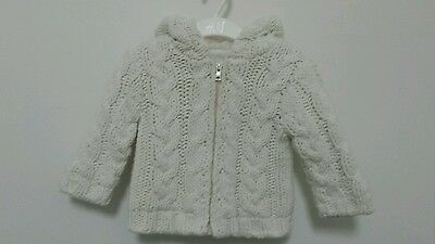 Lined cable knit cardigan. 6 - 9 months.