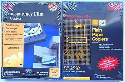 3M Transparency Film for Copiers NEW PP2500 Overhead Projector 200 Sheets