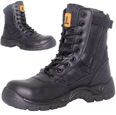 Mens Leather Waterproof Military Combat Boots Police Non Safety Work Shoes Size