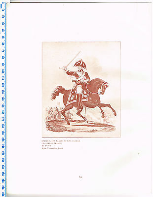 Officer, 2nd Regiment Life Guards Waterloo Period Antique Military Picture Print
