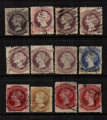 South Australia 1860/1900 QV - Selection of 12 Used to 2/-