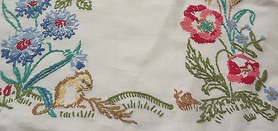 Vintage Hand Embroidery Linen Cushion Cover - Harvest Mice, Snail, Blackberries