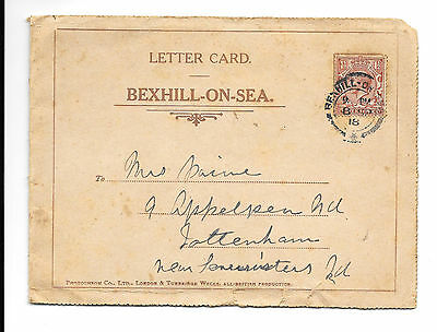 Bexhill On Sea - Old Lettercard - 1918 Postmark - Booklet Style Pictures  Sussex