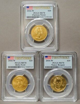 2016-W $10 First Spouse Gold 3pc Full Year Set MS70 First Strike PCGS