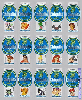 Walt Disney World Costa Rica 2014 Chiquita Banana Labels Stickers Full Set Of 15