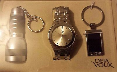 Mens Watch / Keyring & Torch Gift Set 1 ~ 12.99P No Reserve ~ Unwanted
