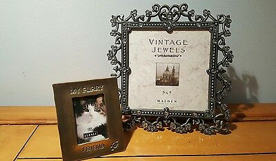 2 Picture frames*Malden Pewter Filigree & Rhinestones/small brass cat frame