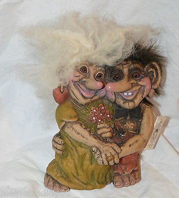 Collectable Collectable Vintage  Original Tusse Norwegian Troll - Loving Couple