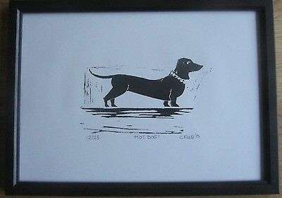 Sausage dog dachshund hand pulled linocut print signed limited edition framed