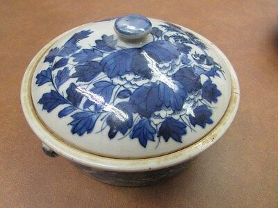 Round Blue and White Porcelain Oriental Antique Covered Bowl A-13