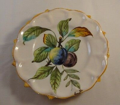 Antique Majolica Cantagalli Fruit Plate Plums Damsons