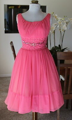 Vintage 50s 60s Pink Chiffon Beaded Party Prom Dress