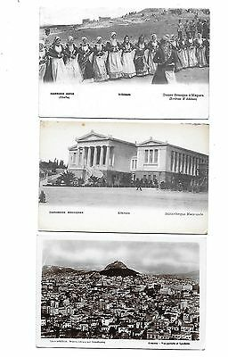 ATHENS Lot 3 early Greece Postcard Lycabette Tpata Bibliotheque etc