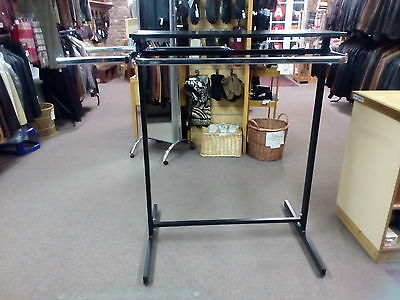 Retail Clothes Display System, Metal & Chrome With Shelf