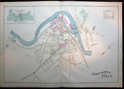 Chicopee Falls & River w/ wards detailed 1894 Hampden MA huge scarce antique map