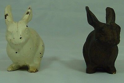 """Pair 2"""" Cast Iron Rabbits, Chippy White and Primitive Brown."""