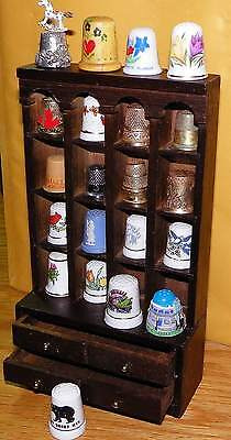 Vintage Thimble Set with  Wooden Display Case