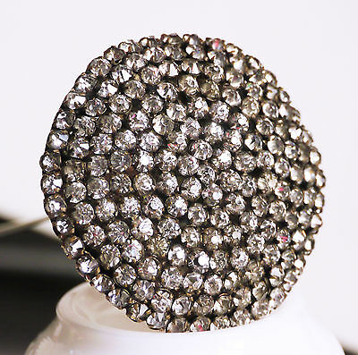 """Antique huge 2 1/2"""" dia. rhinestone hat pin, gold-plated, 7 rows, 12 5/8"""""""