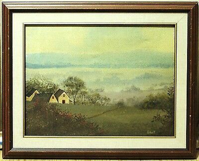 Vintage Oil Painting On Canvas - Misty White House Landscape - Signed Jalbert