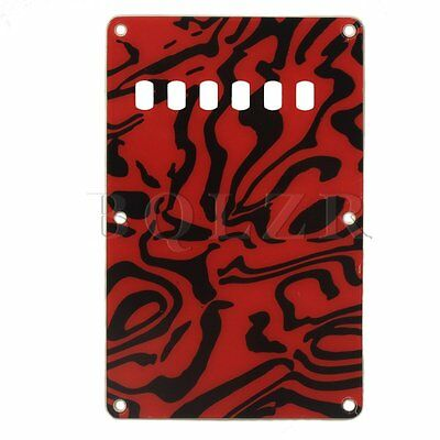 Back Plate Tremolo Cavity Cover for Electric Guitar PVC Red & Black Zebra