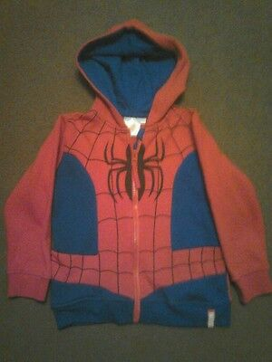 Boys spider-man zipped hooded fleece top 3-4years
