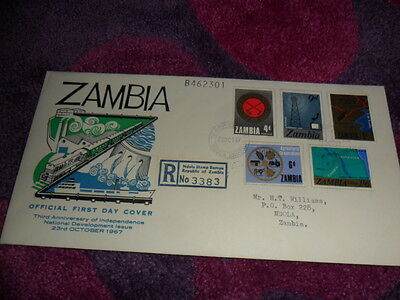 Zambia. FDC. 23 Oct 1967. 3rd anniv of independence. Sent to/from Ndola