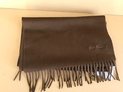 Salvatore Ferragamo Fringe Scarf Vicuna brown 100 cashmere new with tags