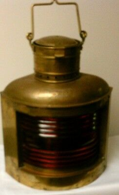 Large Vintage Brass Ship Lantern with Red  Globe Port --- Great Condition!!