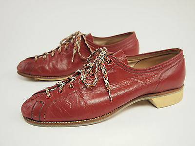 1950s CHAMPION SHOE Vintage Jimmy Smith Ladies Red Leather Bowling Shoe 8.5 Wide