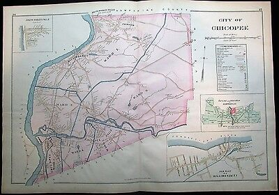 City of Chicopee Connecticut River wards 1894 Hampden MA huge scarce antique map