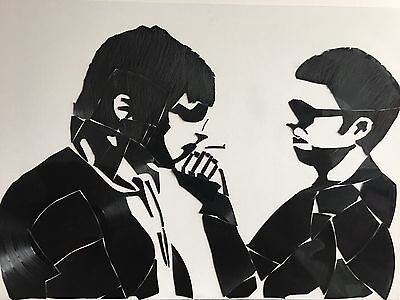 Unique One Of Piece Of Vinyl Art Work Of Liam And Noel From Oasis