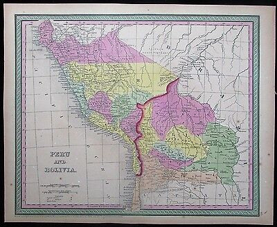 Peru Bolivia Brazil Lima Cuzco lovely 1850 Mitchell scarce antique map