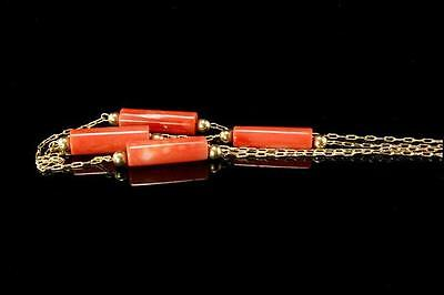 Vintage Chinese Pink Peach Coral Beads 14K Gold Necklace Choker (020917034)