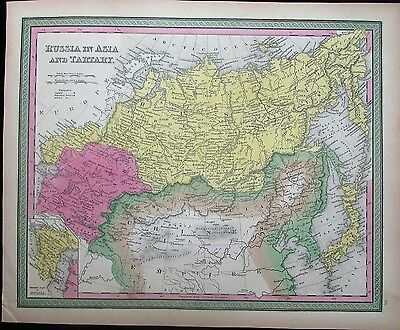 Russia in Asia Tartary China Japan nice c.1846 Mitchell scarce antique map