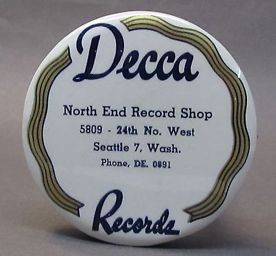 1920's DECCA North End Record Shop SEATTLE WASH celluloid record cleaner brush *