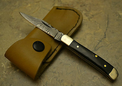Hand Made Damascus Steel Mini Trapper Style Knife Real Bull Horn Handle MPBull
