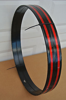 """1970's LUDWIG 24"""" BASS DRUM HOOPS w/ RED SILK INLAYS for YOUR DRUM SET! #C779"""