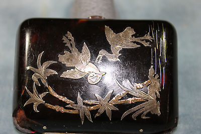Antique Victorian Faux Tortoise Shell Silver & Gold Overlay Crane Coin Purse