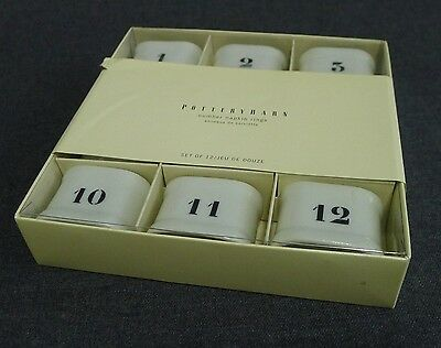 Pottery Barn Napkin Rings 12 Ceramic Typeset Numbers Industrial Style Boxed