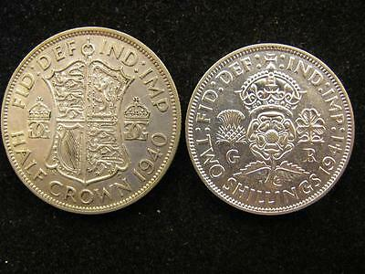 Great Britain 1941 2 Shillings 1940 Half Crown Silver XF/AU (906) Free Shipping!