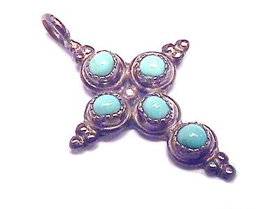 Vintage Native American Indian Zuni Sterling Silver Turquoise Cross Pendant