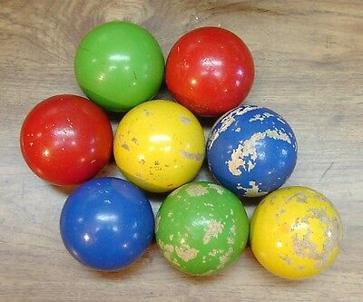 """8 Vintage Bocce Balls,""""L"""" Made In Italy,Including 4 Excellent,Instant Collection"""
