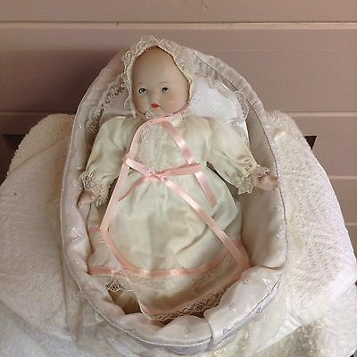 Vtg Baby Collectible Bisque Doll In Christening Gown & Bassinet