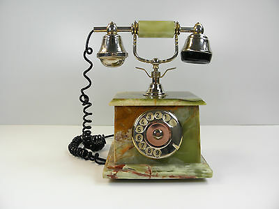Vintage Marble Rotary Phone Old Phone Gold Heavy Dial Onyx Victorian Lovely