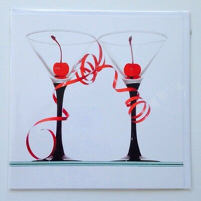 Lot Of 6 Pierre Belvedere Blank Greeting Cards Cocktails For Two! Martinis